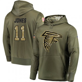 Julio Jones Youth Atlanta Falcons Olive Salute to Service Pullover Hoodie