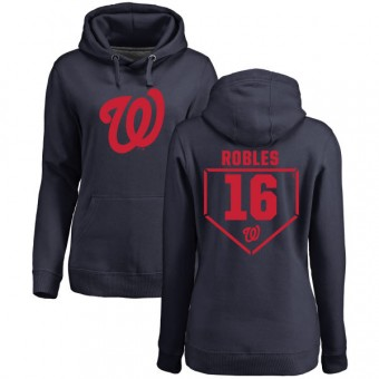 Victor Robles Women's Washington Nationals Navy RBI Pullover Hoodie -