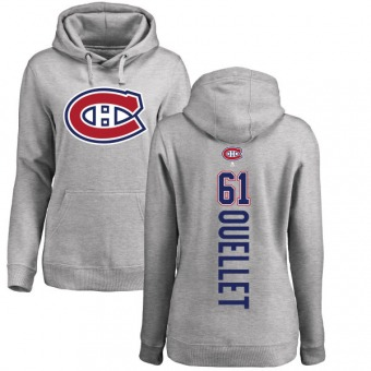 Xavier Ouellet Women's Montreal Canadiens Ash Backer Pullover Hoodie